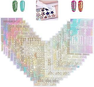YOTINO 288Pcs Plantillas de Uñas Diseños de Vinilos de Uñas Set de Pegatinas de Uñas 24 Hojas Diseño de Arte de Uñas para ...