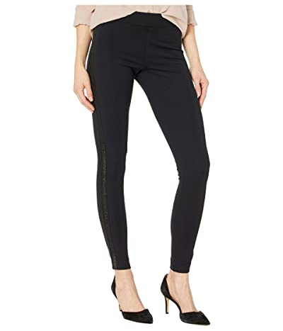 HUE Metallic Racer Stripe Ponte Leggings (Black) Women