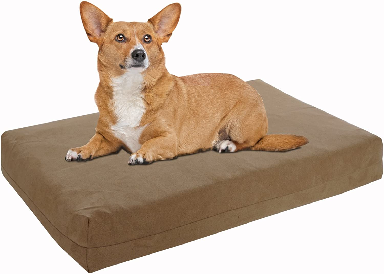Pet Support Systems Washable Orthopedic Memory Foam Dog Bed, Small, 22Inch x 16Inch x 4Inch, Khaki Tan (Plush Microsuede)