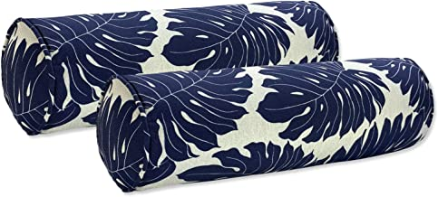 FBTS Prime Outdoor Bolster Pillows with Insert Navy Set of 2 Navy Leaves Round 20x6 Inch Patio Neck Roll Pillows for Couch...