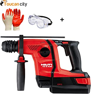 Toucan City Safety Goggles with Nitrile Dip Gloves (5-Pack) and Hilti 36-Volt Lithium-Ion 1/2 in. SDS Plus Cordless Rotary Hammer TE 6-A36 Compact 3551238