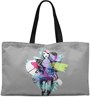 Timingila Heavy Canvas Printed Canvas Large Tote Bag for Beach Shopping Groceries Books