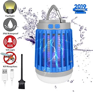 Bug Zapper Outdoor Camping Lantern LED Flashlight - 3-in-1 Portable IPX7 Waterproof Mosquito Killer Camp Lamp LED Tent Light with 2200mAh USB Rechargeable Battery, SOS Emergency, Retractable Hook