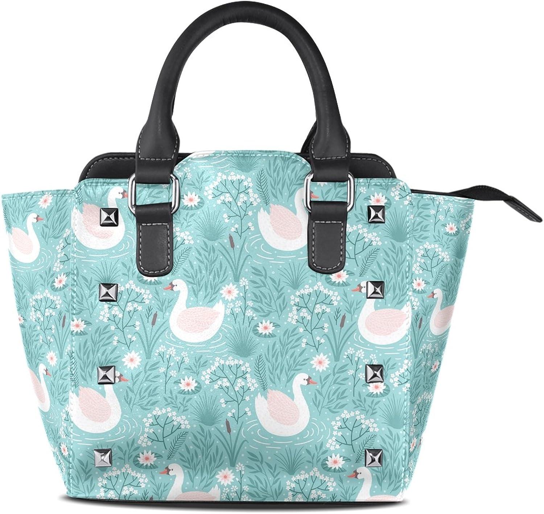 My Little Nest Women's Top Handle Satchel Handbag Swan Floral Ladies PU Leather Shoulder Bag Crossbody Bag