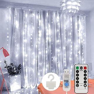 Guirlande Lumineuse Rideau, Zorara Rideau Lumineux USB 300 LED 3m*3m 8 Modes d'Eclairage, Decoration de Fenêtre, Noël, Mar...