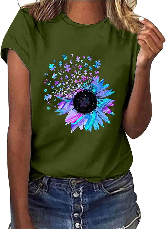 FABIURT Short Sleeve Shirts for Women Plus Size Women's Short Sleeve V-Neck Shirts Loose Casual Tee T-Shirt Green