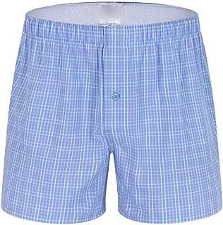 Men Underwear Boxers Plaid Loose Shorts Men Panties Cotton Soft Large Arrow Pants at Home Underwear Classic Basics Men Pajamas Sky Blue