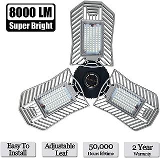 Garage Lights, 80W E26 8000 Lumens LED Garage Light, Deformable Garage Ceiling Lighting, Work Light for Garage, Barn, Workshop, LED High Bay Light Bulb.
