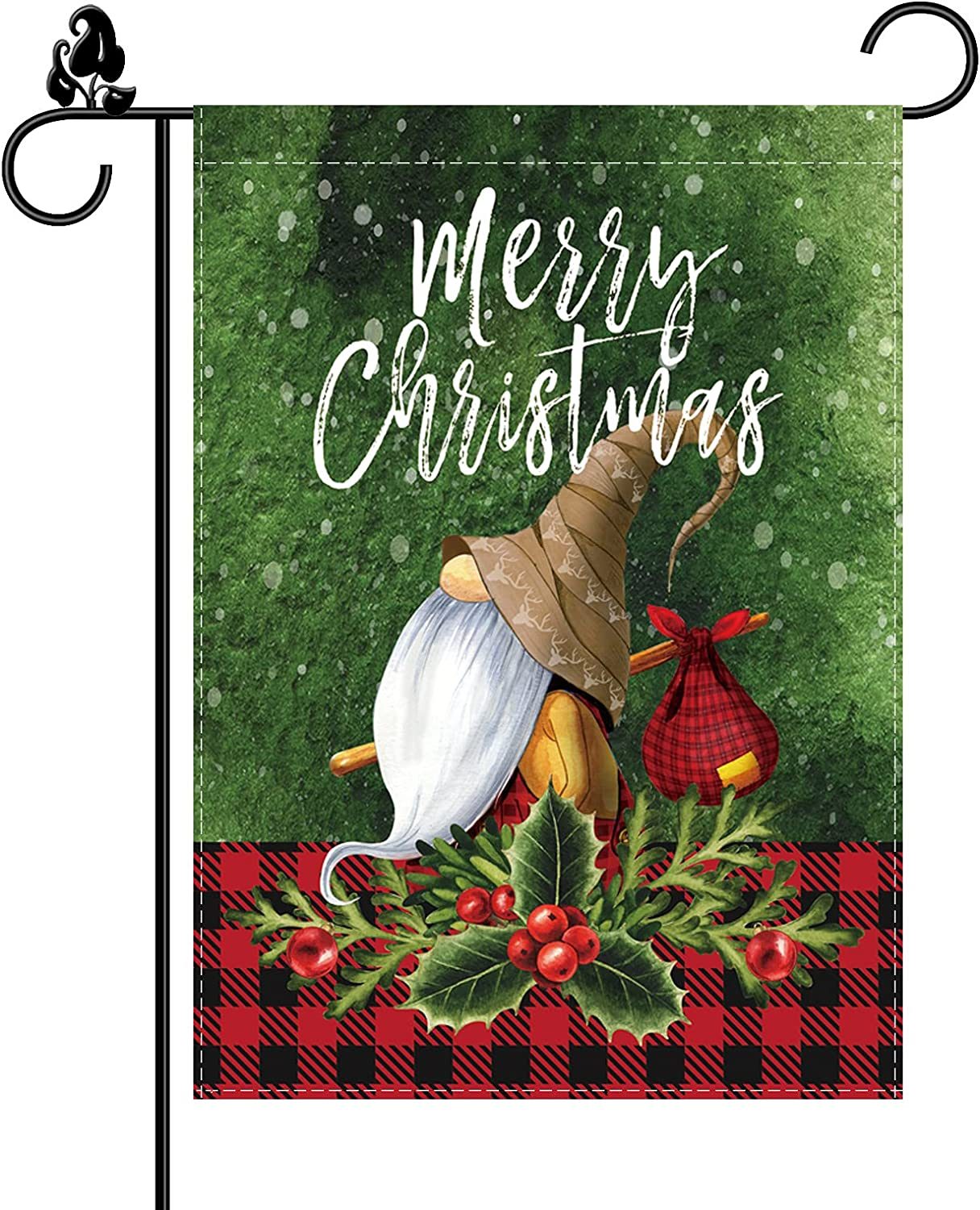 Merry Christmas Garden Flag Gnome Balls Red Buffalo Check Winter Double Sided Vertical Burlap 12.5 x 18 Inch Outdoor Decorations Holiday Yard Decor