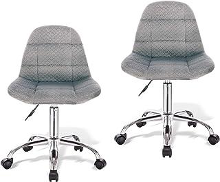 PROMECITY Lot de 2 Chaise de Bureau,Chaise de Bureau Ergonomique Grise Chaise Pivotante Réglable en Hauteur, Gris Clair