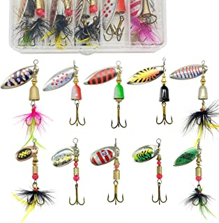 G.S YOZOH 10Pcs Spinnerbait Fishing Lure, Hard Metal Spinner Baits Kit for Bass Trout Salmon Fish