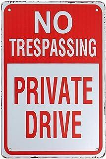【USA アメリカン デザイン】NO TRESPASSING PRIVATE DRIVE 立入禁止 私有地 警告 自宅 ガレージ サインボード ビンテージ バイカー インテリア 看板 ; AVSB-320
