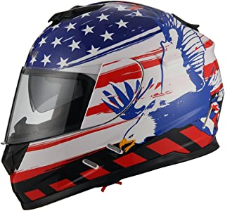 Triangle Motorcycle Street Bike Dual Visor Helmets DOT Approved (Small, American Flag)
