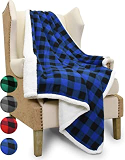 Catalonia Buffalo Plaid Sherpa Throw Blanket,Reversible Soft Warm Comfy Snuggle Micro Fleece Plush Throws for Bed Couch TV,60x50 Inches,Blue Checkered