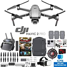 DJI Mavic 2 Pro Drone with Hasselblad Camera Fly More Essential Bundle with 3 Batteries, Case, Battery Hub, Car Charger, Propellers, Filter Kit, VR Goggles, 64GB SDXC Card & 1 Year Warranty Extension
