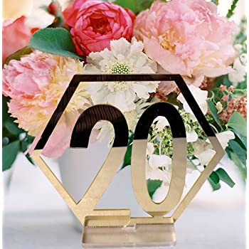 Easy to Assemble Joy-Leo 4.6 Inch Wooden Hexagon Table Numbers for Party Table Centerpieces Reception Decorations for Wedding or Party NO. 21-40 with Sturdy Holder Base