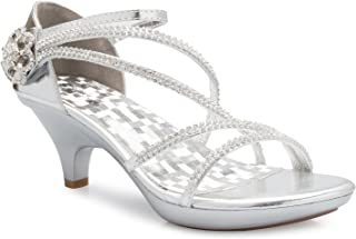Olivia K Women's Open Toe Strappy Rhinestone Dress Sandal Low Heel Wedding Shoes