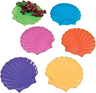 Colorful Plastic Sea Shell Plates (set of 12) Party Supplies