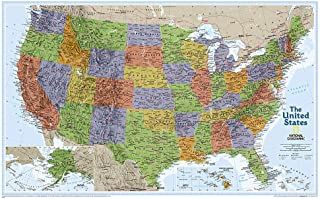 National Geographic: United States Explorer Wall Map - Laminated (32 x 20.25 inches) (National Geographic Reference Map)