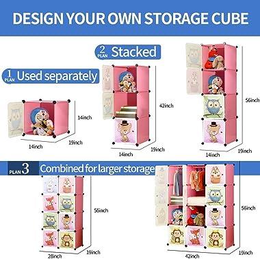 LSZ Portable Cartoon Wardrobe Wardrobe DIY Modular Storage Storage Rack Children's Sturdy Safety Wardrobe Simple Assembly