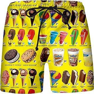 JINGFAN Men's Food Realistic 3D Printing Summer Casual Shorts Beach Shorts Beach Swimming Summer Beach Shorts Surf Shorts ...