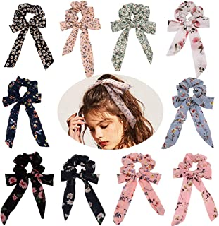 Ondder 10 Pack Bow Hair Scrunchies for Hair Scarf Scrunchie Elastic Hair Bands Ponytail Vintage Hair Accessories for Women Ladies Young Women, 10 Colors Chiffon Scrunchies 10 Pack Bow Scrunchies
