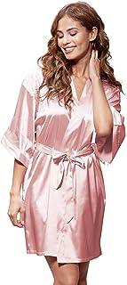 Turquaz Linen Women s Pure Color Satin Short Kimono Bridesmaids Lingerie  Robes e2d360c70