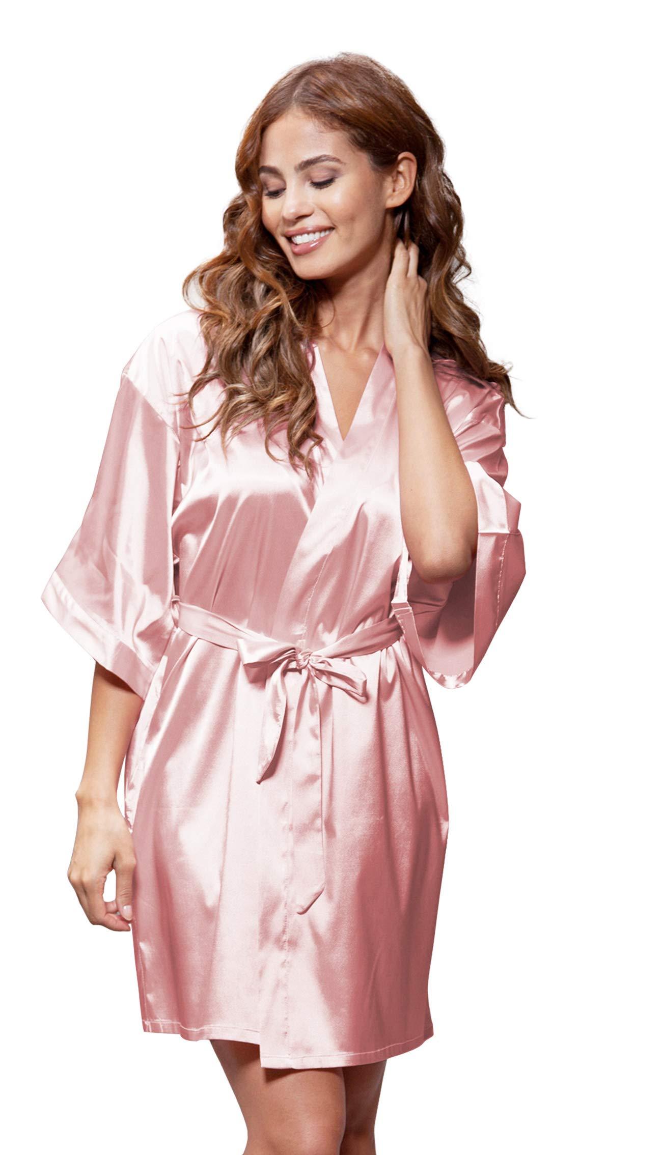 Women/'s Pure Color Satin Short Kimono Bridesmaids Lingerie Robes