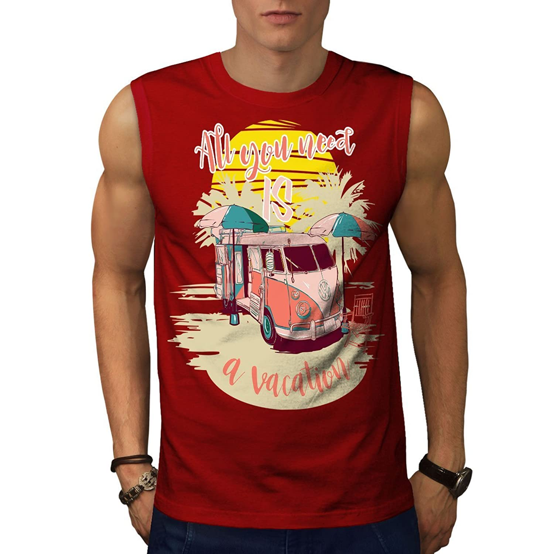 Wellcoda 休暇 旅行 休日 男性用 S-5XL 袖なしTシャツ