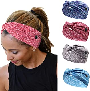 HOME-MART 4 Pieces Workout Headbands with Buttons Yoga Sports Hairbands Elastic Buttons Headbands Wide Non-Slip Headband f...
