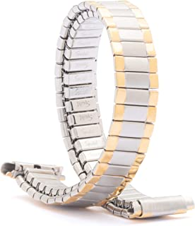 Speidel Ladies Twist-O-Flex Expansion Replacement Watch Band Gold and Silver Tone Straight and Curved End 10-14mm