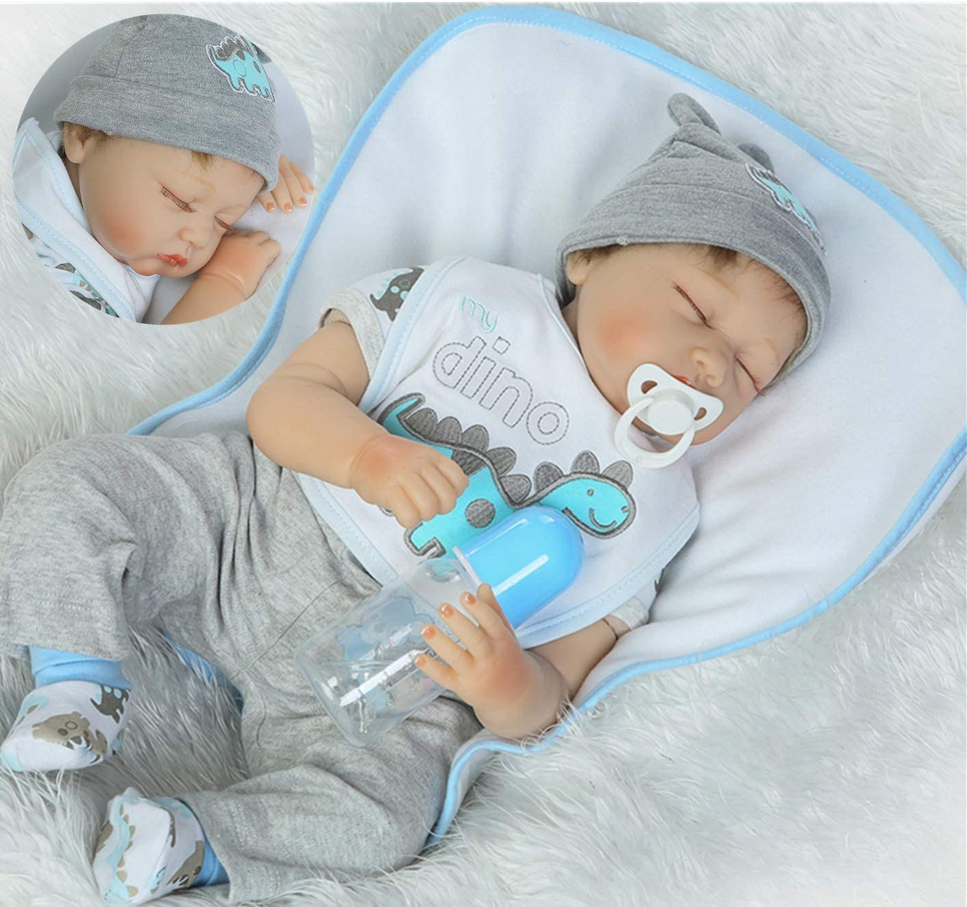 Realistic Max 46% OFF Sleeping Reborn Baby Doll Boy Silicone Deluxe 22 Vinyl I Soft