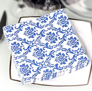 Blue Floral Cocktail Napkins for Wedding Party Birthday with 2 Layers, Paper Luncheon Napkin, 13x13 Inch, 20 Count