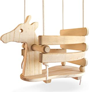 Ecotribe Wooden Giraffe Toddler Swing, Varnished Baby Swing Set for Outdoor and Indoor Use, Eco-Friendly Smooth Birch Wood with Natural Cotton Ropes, Swing Chair for Babies 6 Months to 3 Years Old