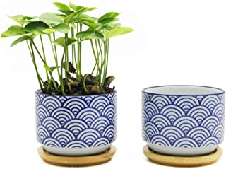 Goldblue Ceramic Small Succulent Pots blue succulent planter 3.1Inch Japanese Style Succulent Planter Pots with Bamboo Drip Tray Pack of 2/Wave