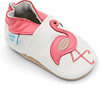 0a0c020e398 Dotty Fish Soft Leather Baby Shoes with Non Slip Suede Soles. Toddler Shoes.  Animals