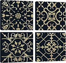 DAVOD Canvas Wall Art For Bedroom Gold Foil Pattern Black Boho Vintage Theme Pictures For Bathroom Wall Decor Framed Artwo...