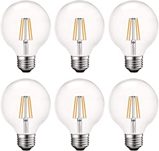 Luxrite Vintage G25 LED Globe Light Bulbs 60W Equivalent, 550 Lumens, 2700K Warm White, Dimmable Round Edison Bulb 5W, Clear Glass, LED Filament Bulb, E26 Standard Base (6 Pack)