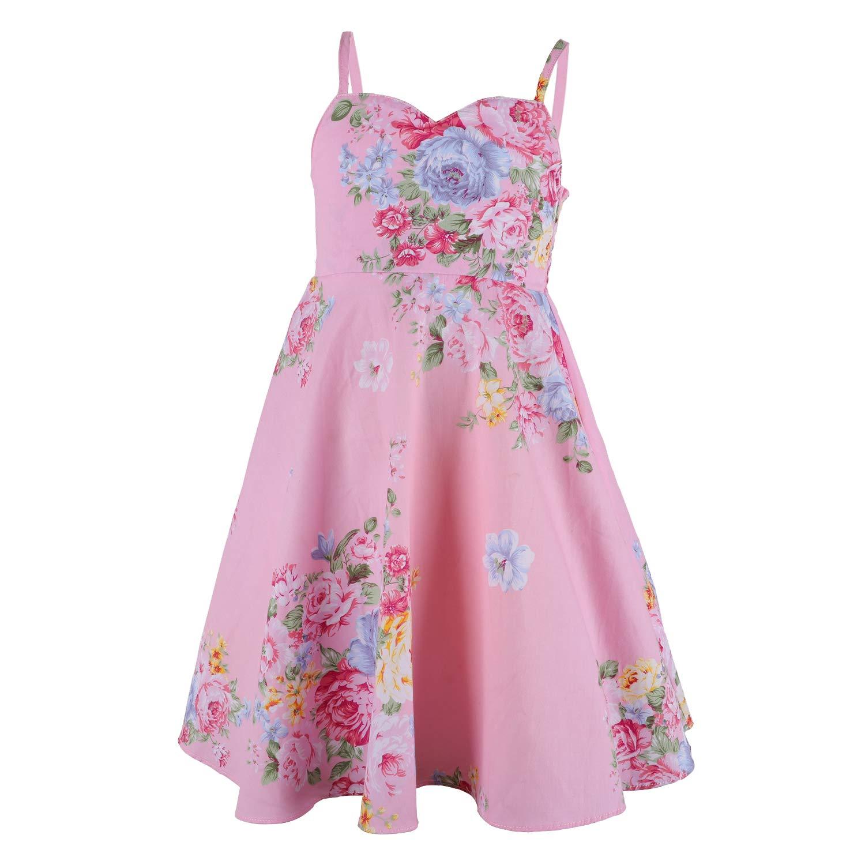 flofallziqueフローラルヴィンテージピンクガールズドレス夏パーティー幼児用ドレス