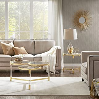 Madison Park Bethel Accent 3 Tiers Round Tabletop with Fancy Metal Gold Base Modern Luxurious Design Coffee Table