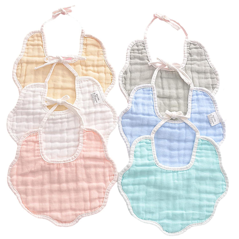 6 Pack Muslin Baby Bandana Drool Bibs Soft & Absorbent Drooling Bibs Baby Bibs for Drooling and Teething Adjustable Bibs for Unisex Boy Girl Baby(0-6 Months)