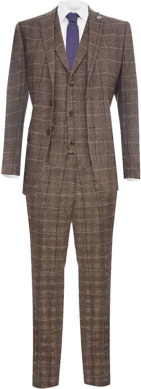 Mens 3 Piece Tweed Suit Check Wool 1920s Peaky Blinders Retro Classic