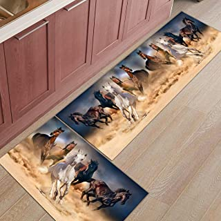 Libaoge Kitchen Rugs and Mats Set of 2 - Running Horse Doormat with Non Skid Rubber Backing Floor Mat Accent Area Runner Indoor Entrance Carpet 23.6