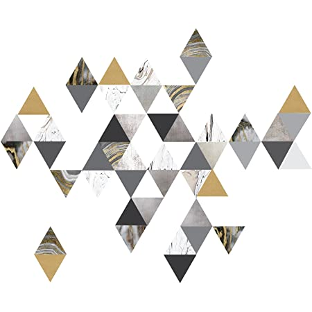 Modern Art Wall Decals Gold Gray Marble Triangles Geometric Decals Repositionable Fabric Wall Decals Plus 6 Bonus Metallic Gold Triangle Vinyl Decals Kitchen Dining