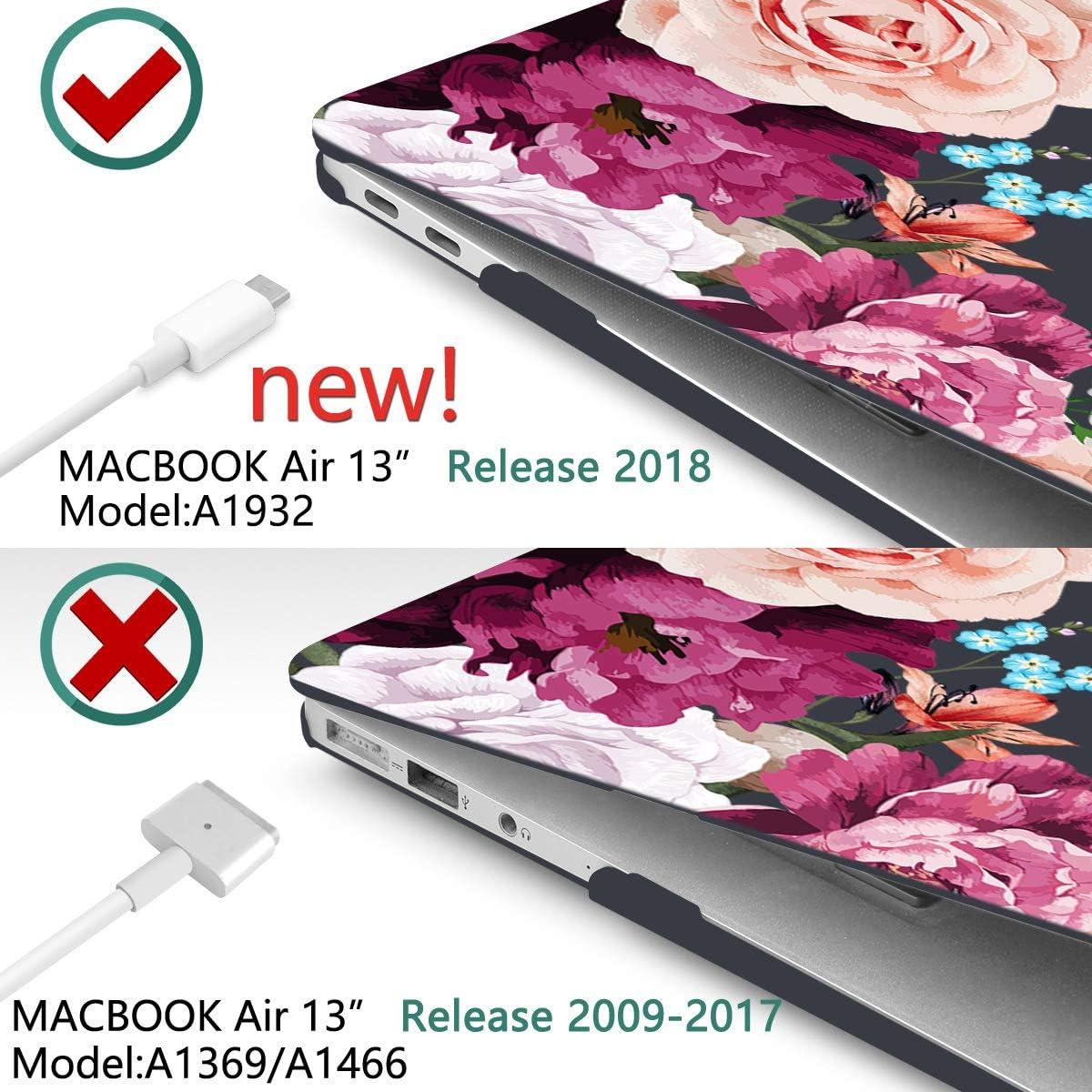 Ocean TwoL 4 in 1 Transparent Print Hard Shell Case for 2020 MacBook Air 13 inch Model A2337 M1 A2179 A1932