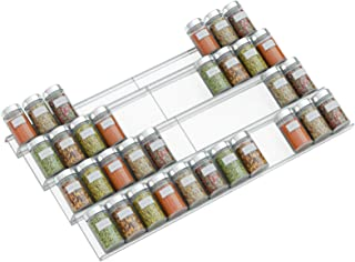 NIUBEE Acrylic Adjustable Expandable Spice Rack Tray - 4 Tier Spice Drawer Organizer for Kitchen Cabinets,Clear 2 Pack