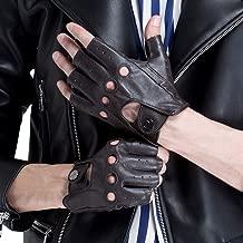CHULRITA Men's Leather Driving Gloves Sheepskin Fingerless Unlined Motorsports Retro Half Finger Driving Fitness Motorcycle Cycling Gloves