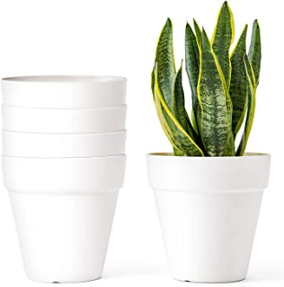 Mkono 5.5 Inch Plastic Planters, Set of 5 Indoor Flower Plant Pots Modern Decorative Gardening Pot with Drainage for All House Plants, Flowers, Herbs, African Violets, Foliage Plants, Cream White