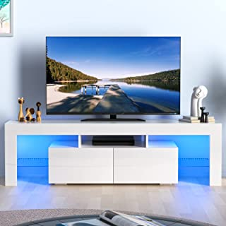AUXSOUL Glossy LED Entertainment Stand for 70 Inch TV - Modern LED TV Cabinet with 2 Large...