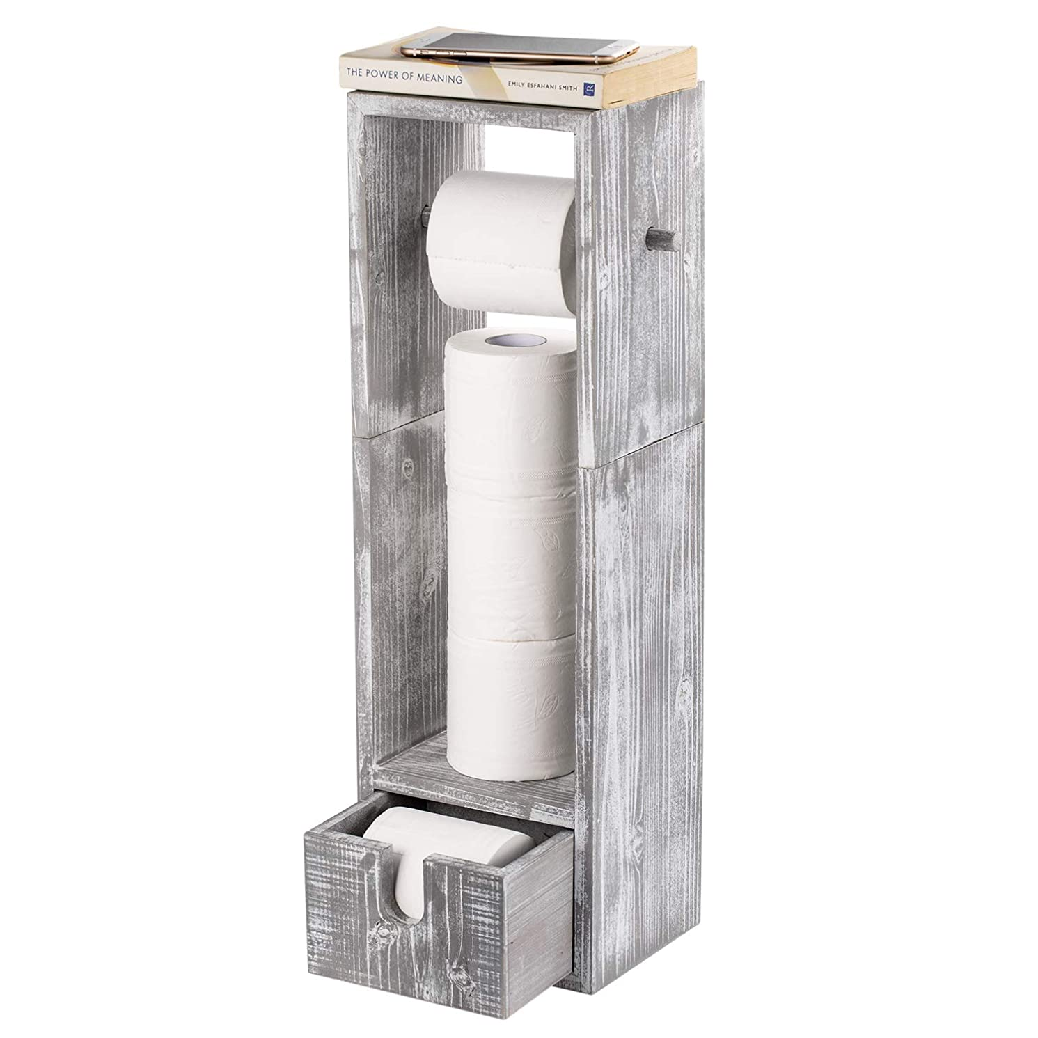 NEX Toilet Paper Holder, Real Wood Bathroom Toilet Tissue Paper Roll Holder Stand and Dispenser with Storage